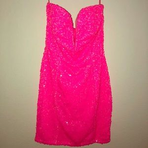 Sparkling HOT pink party dress!